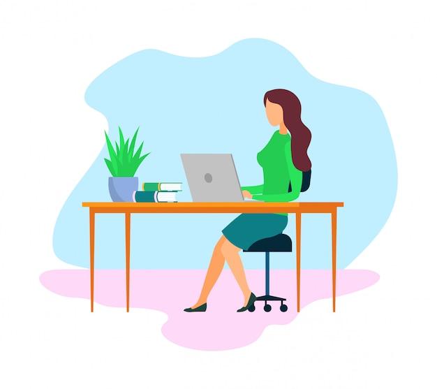 Femme patron, dessin animé employeur