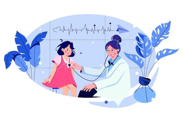 Femme pédiatre effectuant l'auscultation d'une petite fille avec stéthoscope