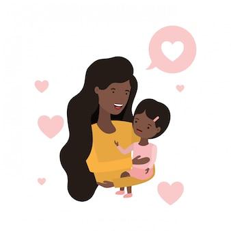 Femme avec personnage avatar bulle et bébé