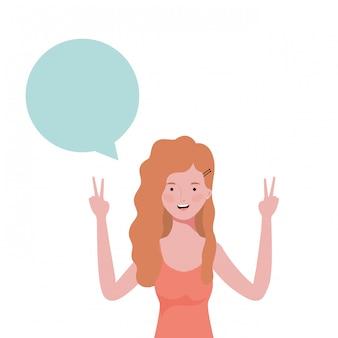 Femme avec personnage avatar bulle