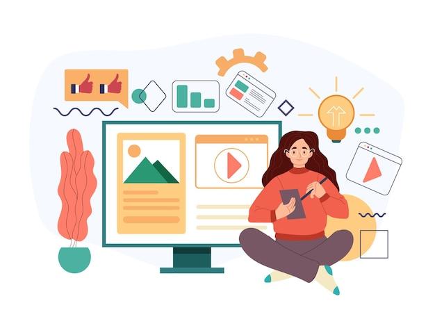 Femme personnage blogueur rédacteur rédacteur journaliste gestionnaire de contenu de travail