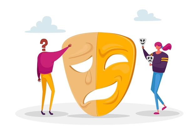 Femme et personnage sans visage se tiennent près d'un masque énorme séparés sur des émotions opposées