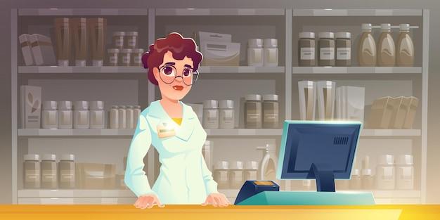 Femme pharmacien au comptoir de la pharmacie parapharmacie