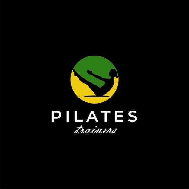 Femme pilates workout santé sports logo design