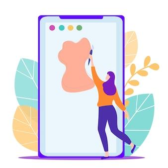 Femme avec pinceau à la main dessiner sur une tablette électronique