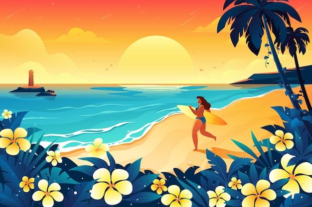 Femme avec planche de surf prête à nager