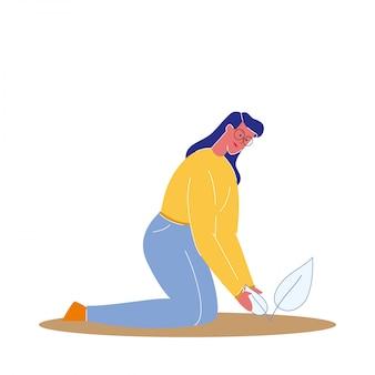 Femme, plantation, germination, plat, illustration vectorielle
