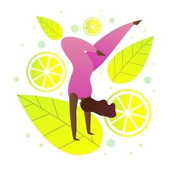 Femme plate faisant de l'illustration de la gymnastique.