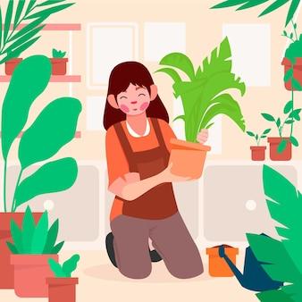Femme plate prenant soin des plantes