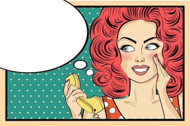 Femme pop art surpris avec téléphone rétro