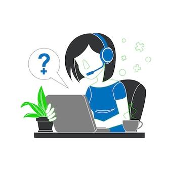 Une femme portant un casque probablement un télévendeur ou un service client avec son ordinateur portable