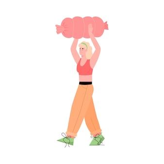 Femme portant d'énormes saucisses pour le don de nourriture illustration vectorielle plane isolée