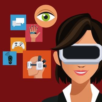 Femme portant des icônes de réalité augmentée de casque