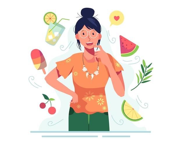 Femme portant des lunettes entourée de nourriture fraîche