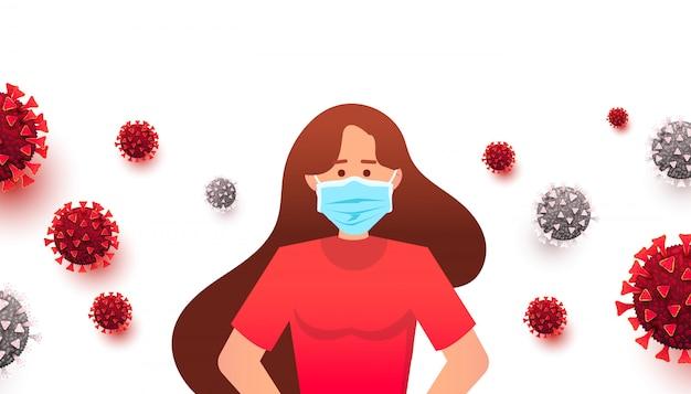 Femme portant un masque médical pour prévenir la maladie. style plat, coronavirus 2019-ncov.