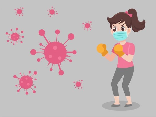 Femme portant un masque médical de protection chirurgicale pour prévenir le virus