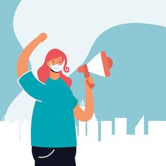 Femme portant un masque médical protestant avec illustration de mégaphone