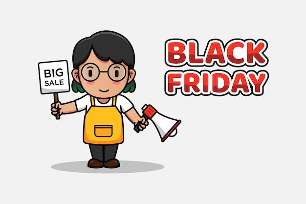 Femme portant un mégaphone et une grande vente signe en vendredi noir