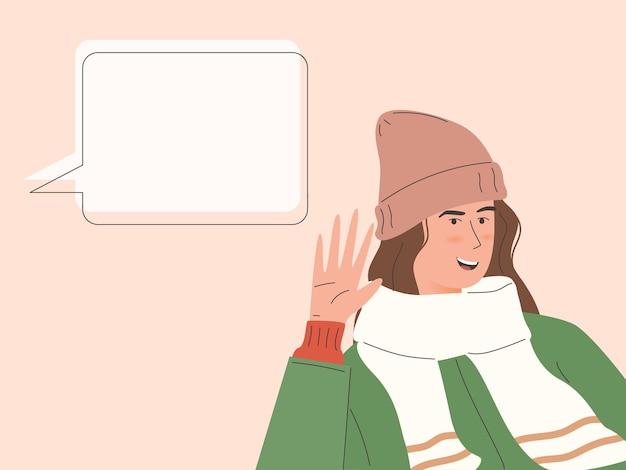 Une femme portant une tenue d'hiver écoute avec une illustration de la main