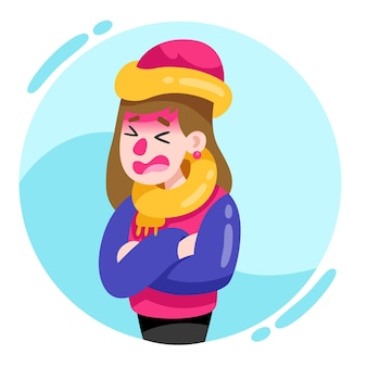 Femme portant des vêtements chauds et ayant une grippe