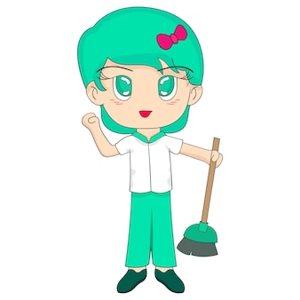 Une femme porte un balai à nettoyer