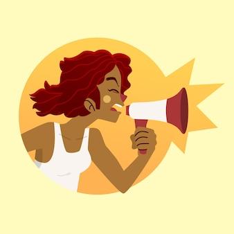 Femme, à, porte voix, crier, thème