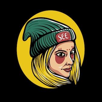 Femme, porter, chapeau bonnet, illustration