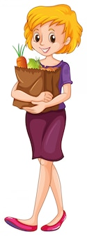 Femme, porter, épicerie, sac