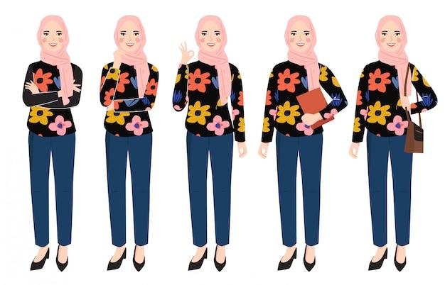 Femme, porter, hijab, caractère, ensemble