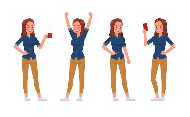 Femme, porter, jean bleu, chemise, caractère