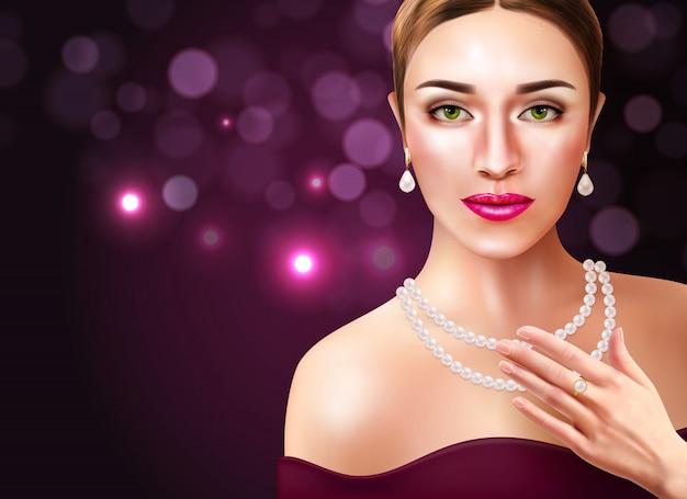Femme, porter, perles, accessoires