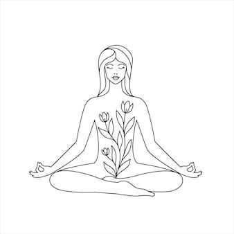Femme en position du lotus sur fond blanc. concept de yoga et de relaxation. icône de dessin au trait.