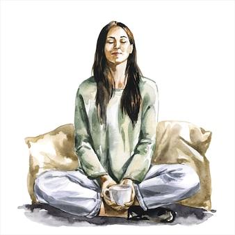 Femme en position du lotus en méditant