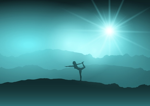 Femme en position de yoga dans le paysage