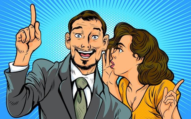 Femme de potins chuchotant un secret ou des nouvelles à l'oreille d'une personne surprise dans un style bande dessinée rétro pop art.