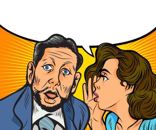 Femme de potins chuchotant un secret à l'oreille d'une personne surprise avec une bulle de dialogue dans un style bande dessinée pop art