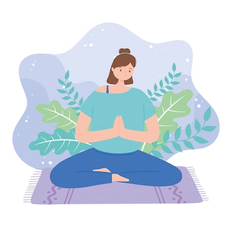 Femme pratiquant des exercices de pose de yoga, mode de vie sain, illustration de la pratique physique et spirituelle