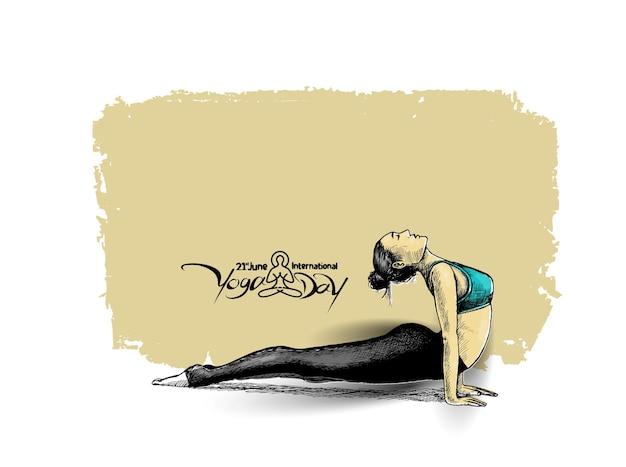 Femme pratiquant la pose de yoga, 21 juin journée internationale du yoga, hand draw sketch vector design.
