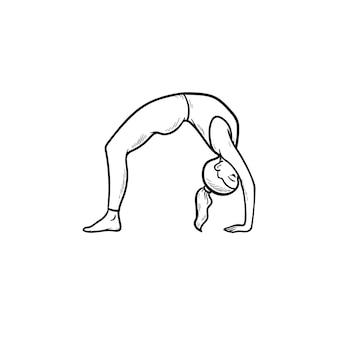 Femme pratiquant le yoga bridge pose icône de doodle contour dessiné à la main. mode de vie sain, concept d'exercices de yoga