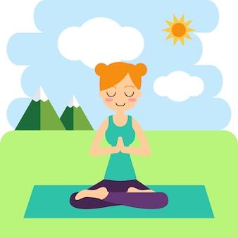 Femme pratiquant le yoga dans l'arbre pose. dans l'asana vrikshasana.