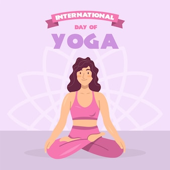 Femme pratiquant le yoga design plat