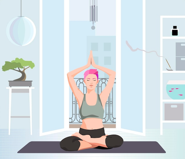 Femme pratiquant le yoga devant la fenêtre ouverte illustration vectorielle plane
