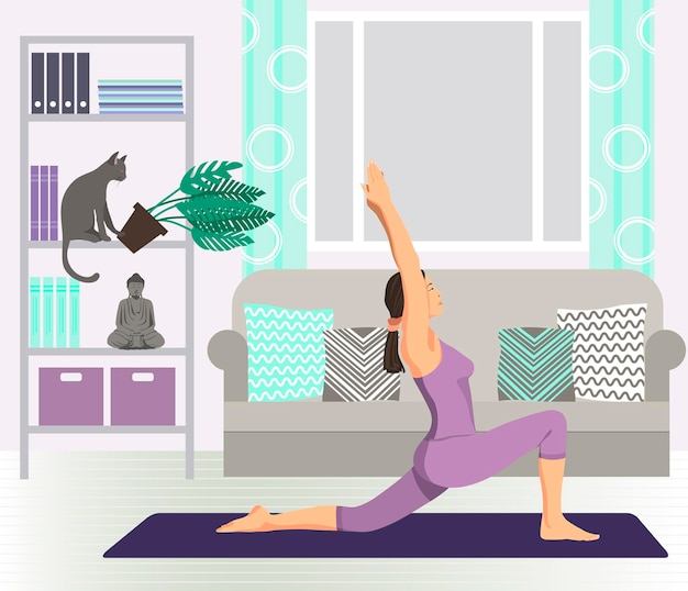 Femme pratiquant le yoga à l'intérieur avec illustration vectorielle de chat plat