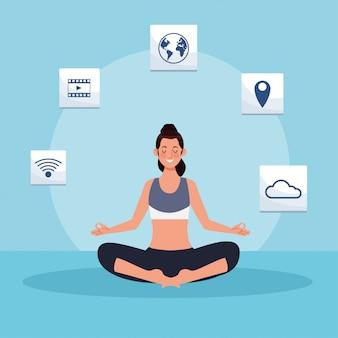 Femme pratiquant le yoga en ligne pour la quarantaine