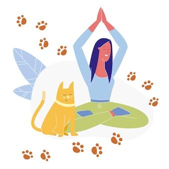 Femme pratiquant le yoga plat