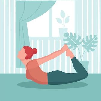 La femme pratique le yoga à la maison. concept de sport à domicile, entraînement de yoga en ligne à l'intérieur.