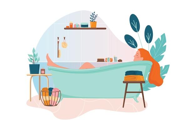 Femme prenant un bain. hygiène et beauté. concept de salle de bain zéro déchet. corps de lavage de fille.