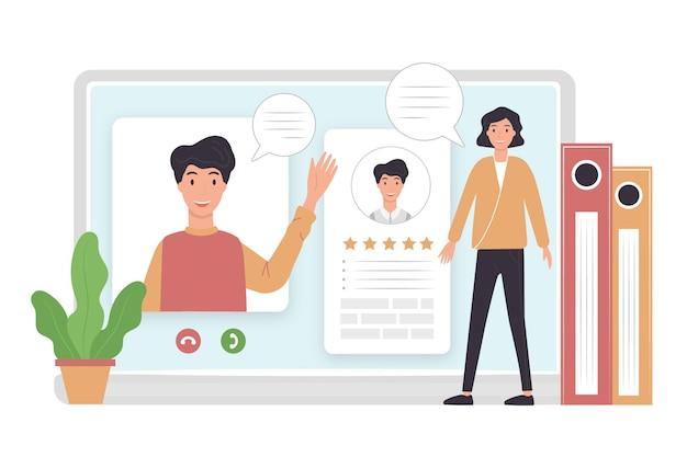 Femme prenant entretien d'embauche en ligne