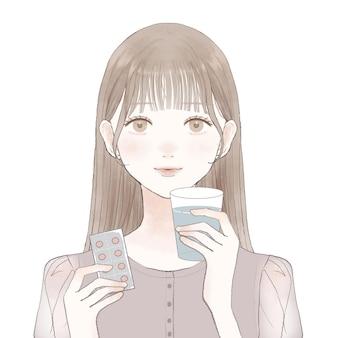 Femme prenant des médicaments de type comprimé. sur un fond blanc.