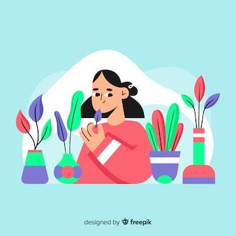 Femme prenant soin des plantes